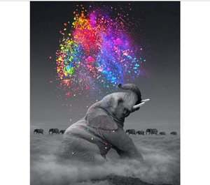 Hot DIY 5D Diamante Pintura por Kit Número de Adultos completa broca de diamante bordado Dotz Kit Início Wall Decor-30x40cm Elephant