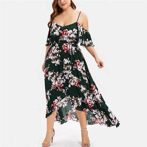 Off плеча Большого платьев New Designers Цветочного Printed Bohemian платье лето вскользь Женских платья Sexy Womens
