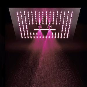 304 Paslanmaz Çelik Yağış Duş 400x400mm Elektrik Enerjisi Ile LED Işık Çok Renkler Değişim Showerhead Banyo Yağmur Jeti Şelale