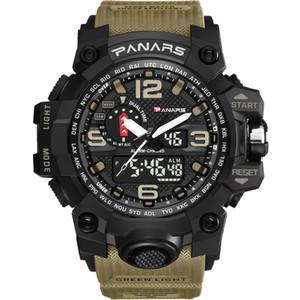 PANARS Камуфляж Тактического цифровых часов мужского Proof Мода спорт Army Watch вода светодиодный электронные наручные часы с коробкой
