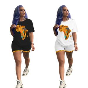 Le donne casuali Outfits Mappa dell'Africa stampa Tuta sportiva insieme delle 2 parti manica corta t-shirt + mini shorts di abbigliamento estivo sottile jogger vestito 3138