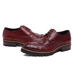 Couro dos homens Toe Grosso fundo redondo de couro usar sapatos Work Work Moda sapatos de casamento