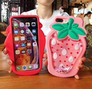 iPhone Silicone Case 3D macio dos desenhos animados Glitter Líquido Floating Abacaxi Morango telefone capa para 11 Pro XR XS Max X 8 7 Plus Tampa