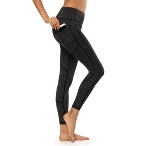 Sports Fitness suit tight pants womens pocket mobile phone stitching nine points stretch high waist yoga pants