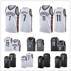 2020 남성시 11 카이리 어빙 브루클린프로 농구 (NBA)네츠 7 케빈 듀란트 블랙 화이트 그레이 고품질 빈티지 농구 유니폼 판