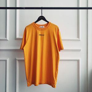 19SS الرجال والنساء الساخنة المحملة AMBUSH قصيرة الأكمام تي شيرت أزياء رجالي مصمم القمصان بحروف قميص فاخرة