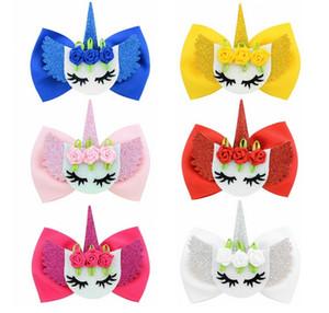 Kız Çocukların 876 için 6 Renkler Moda Çiçek Şekli Saç klibi Saç Aksesuarları 4 İnç Unicorn Bow Saç Klipler