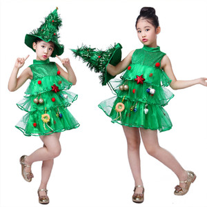 Christmas Children's Kids Cosplay Sundress Gauze Small Xmas Tree Green Sequined Girls Outfits with Balls Layered Party Princess Dress