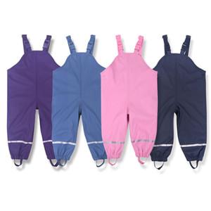 Brand Waterproof Polar Fleece-Padded Baby Girls Boys PU Rain Pants Warm Trousers Children Outerwear Kids Outfits For 85-130cm Y200704
