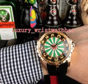9 colore eccellente topselling polso EXCALIBUR RDDBEX0398 oro rosa 18 carati cinturino in pelle di cinghia di 45 millimetri Mens Orologi dell'orologio meccaniche automatiche