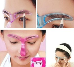 Alta calidad Grooming Brow Painted Model Stencil Kit Shaping DIY Beauty Eyebrow Stencil Pink Blue 2 colores cejas herramienta de peinado 20pcs