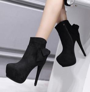 Charm2019 Pop Luxus Designer Frauen Stiefel Bowtie Synthetische Wildleder High Heels Plattform Ankle Bottes Femmes Zu