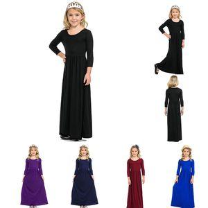 Kids Girls Clothes Solid Children Girl Dresses Long Sleeve Toddler Maxi Dress Princess Dresses Boutique Kids Clothing 8 Colors DW5296