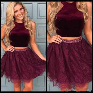 Modest A-Line Halter Short   Mini Lace Homecoming Prom Dress Two Pieces Cocktail Dress Evening Party Formal Gowns