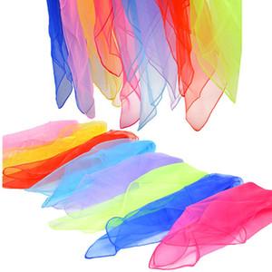 60 * 60cm Seidenschal Klein Foulards Bandana Solid Color Tanzshow Requisiten Süßigkeit-Farben-Kopf Wraps Frauen Kinder HHA1404