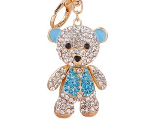 Hot Sale Charms Crystal Cute Bear Panda Keychain Luxury Designer Women Girl Fashion Bag Pendants Car Keychain Souvenirs for Girls
