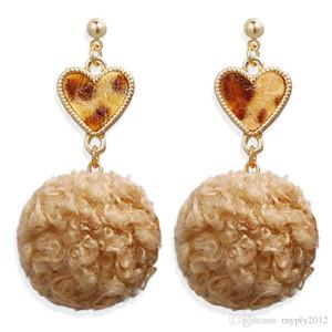 New Gold Plated Geometric Heart Dangle Drop Earrings For Women Vintage Velvet Leopard Earrings Female Bohemian Jewelry HZ