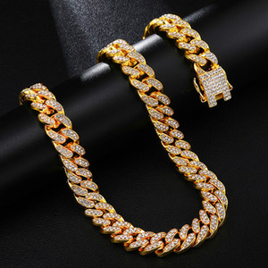 CZ Bijoux hommes Collier 18inch 20inch 22inch 24inch 30inch Glacé strass Or Argent Miami Cuban Chain Link Men Hiphop Collier