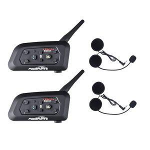 2 pezzi V6 Pro casco del motociclo auricolare Bluetooth Intercom 6 Riders 1200M wireless Intercomunicador BT citofono