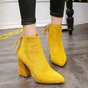 2019 Mid Calf Yellow Color Pointed Toe Zippers Autumn Spring Women Casual Lace-up Martin Boots c25