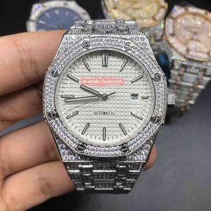 Guarda completo diamante orologio da polso argento cinturino in acciaio uomini di alta qualità della cassa del diamante della vigilanza del fronte del bianco automatico Orologi meccanici