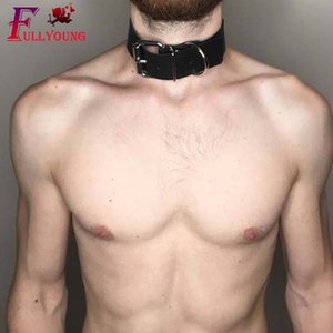 Fullyoung PU Sexo collar para adultos BDSM Restricciones de Esclavitud con cuellos de los productos del sexo Fetiche Esclavo Correas para hombres
