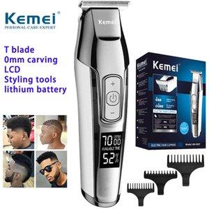 Kemei KM-5027 Saç Kesme 3 Kılavuzu Combs Giyotin Sweet07 ile Erkek Saç Sakal Giyotin Şarj edilebilir Barber Saç Cilpper Bakım Kiti için