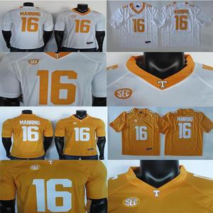 2019 College Football Jersey Peyton Manning 16 Jersey NCAA Tennessee Volunteers Trikots Weiß Gelb 150. Flecken