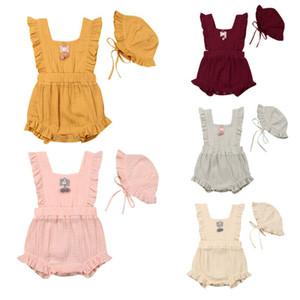 0-24m Toddler Baby Girls Clothes Cotton Cotton Solid Color Bodysuit Cute Jumpsuit Hat Outfits Clothes