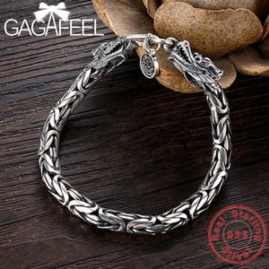 GAGAFEEL Véritable 100% réel pur argent 925 hommes Bracelet Dragon Head Hommes Bijoux Jine Accessoires Homme Boyfriend