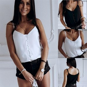 2020 Women Ladies Tank Tops Summer Casual Sleeveless V-Neck Sexy Solid White Black Vest Camis