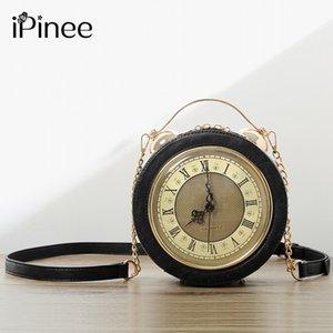 iPinee Kadınlar Deri Omuz Messenger Çanta Zincir Saat Modelleri Ünlü Karikatür Yuvarlak Stil Moda 2020 Popüler Crossbody Çanta