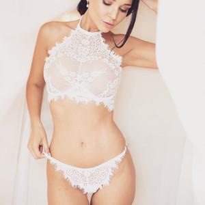 Kadınlar Marka Dantel Sexy Lingerie Set Dikişsiz Nakış Bralette Erotik Lingerie 2019 Artı Boyutu Şeffaf Kadın Iç Çamaşırı Seti
