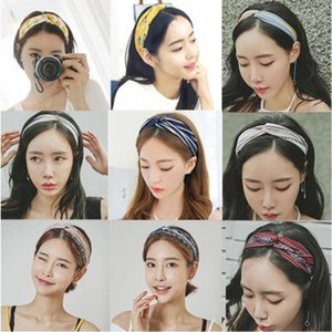 Bandas raya mujeres florales Cruz nudo elástico de la vendimia de la venda del pelo del enrejado Imprimir Sport Accesorios del pelo de Hairband abrigo de la cabeza de la joyería del partido