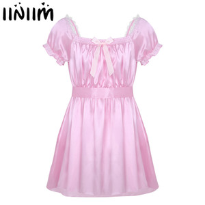 Mens Sexy Lingerie Underwear Dress Babydoll Costumes Shiny Crossdress Male with Sash Gay Bowknot Sissy Panties Underpants LY191222