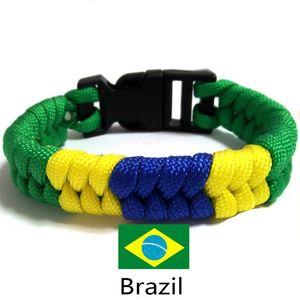 20pc New Brazil Flag Charm Paracord Survival Bracelet Sports Green Royal Blue Bracciali Braccialetti per unisex Uomo Donna Gioielli