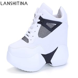 2020 Women's High Platform Shoes Breathable PU Shoes Women Height Increasi Shoes 12CM Wedges Thick Sole Trainers Ladies Sneakers