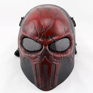 Masque tactique Horreur Rouge TPR + EVA Sports de plein air Protection toute sécurité Protector Skull Net Paintball Masquerade Halloween Scary Movie Prop