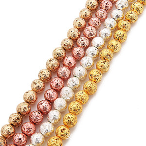 6mm 8mm Lava Volcanics Beads Round Natural Stone Loose Beads Gold Silver Rose Gold KC Gold Plated 38cm Strand Energy Stone DIY Jewelry