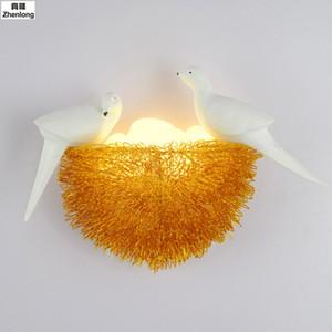 Nordic LED Bird Настенный светильник алюминиевый Птичье гнездо водить Бра Art Deco Backlights Творческий Glass Яйца Lamp Детская комната Свет
