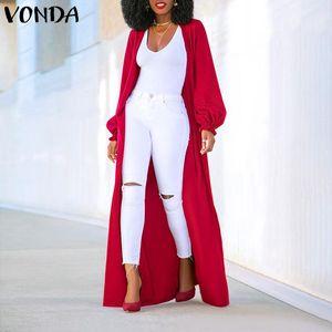 Cardigan Automne Womens Casual Vestes manches longues Cardigans VONDA Fashion Taille Plus solide Couleur Manteaux 5XL vêtement Femininas