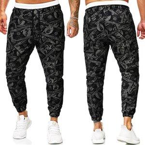 2021 casuais corredores cinza calças masculinas impressão de cargas calças de calça de calça de moletom Basculante Casual Bill Elastic Brand New Calças Bqdex