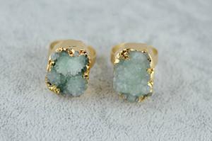 Gemstone Crystal Rings Druzy Quartz Crystal Women Natural Stone Rings Green Rose Raw Stone Female Vintage Wedding Rings ps1664