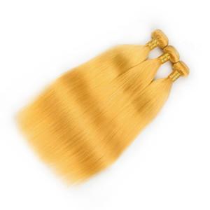 Pure Yellow malese diritta dei capelli umani Weave Bundles 3Pcs colorato giallo Virgin capelli umani di Remy del tessuto trame diritta di estensioni dei capelli