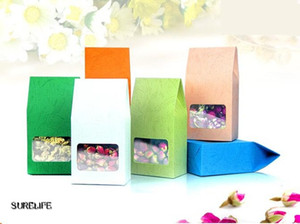 50pcs lot Tea packaging cardboard kraft paper bag,Clear Window box For Cake Cookie Food Storage Standing Up Paper Packing Bag