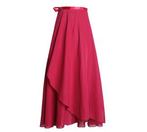Womens Long Chiffon Dancing Skirt Ballet Wrap Leotard Dress Ballroom Dance Practice Ladies Teacher Dress 2020