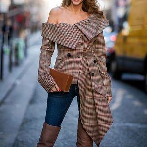 Женская сексуальная с плеча плед Нерегулярное воротник блузки рубашки Пальто женские Сплошные Tops Цвет осени