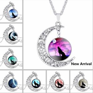 DHL Moon Time Gemstone серебряное ожерелье Wolf Totem ретро сплав выдалбливают ожерелье ретро цепи сплава ювелирных изделий горячее