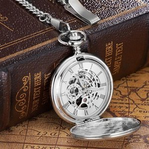 10pcs lot Vintage Silver Mechanical Pocket Watch With Chain Retro Skeleton Men White Dial Steampunk Mechanical Clock Necklace
