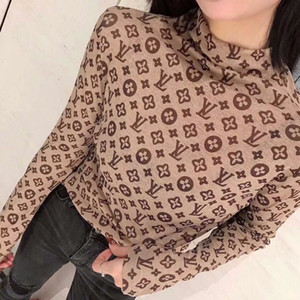 The new spring and autumn 2020 Sen Women's half-turtleneck blouse with a large long-sleeve T-shirt blouse